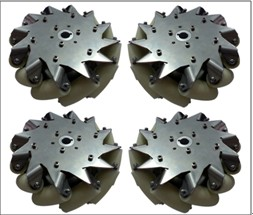 A set of 203mm(8inch) stainless steel body mecanum wheel (4 pieces)/Bearing Rollers 14138