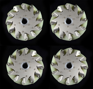A set 8 Inch Industrial wheel Mecanum wheel with 12 PU Roller(150KG load)14178