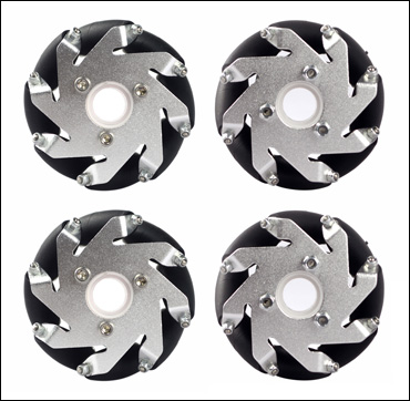 A set of 60mm LEGO compatible Mecanum Wheels (4 pieces)/Bearing Rollers 14144