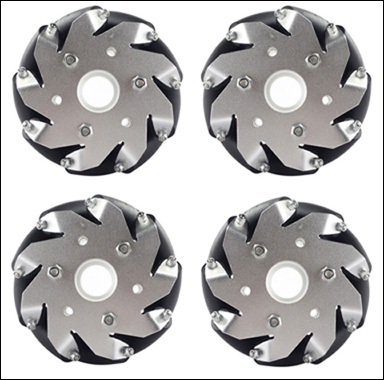 (4 inch)100mm Aluminum Mecanum Wheels Set Basic ( 2 Left, 2 Right) 14162